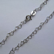 "10"" 9ct White gold heart shaped anklet chain 1.7g"